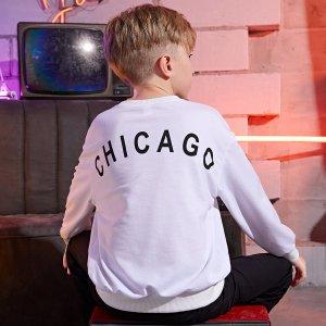 Пуловер с текстовым рисунком для мальчиков SHEIN. Цвет: белый
