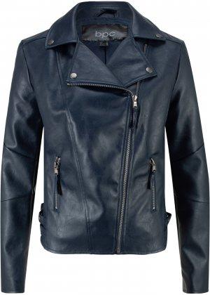 Куртка-косуха из искусственной кожи bonprix. Цвет: синий