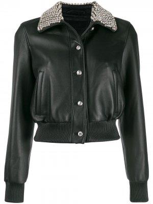 Укороченная куртка-бомбер Philipp Plein. Цвет: черный