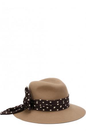 Фетровая шляпа Henrietta с лентой в горох Maison Michel. Цвет: темно-бежевый