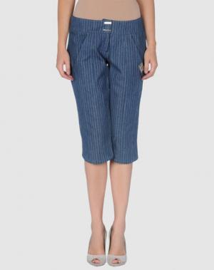 Джинсовые брюки-капри ANGELO MOZZILLO. Цвет: синий