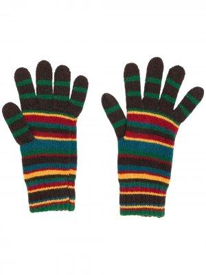 Striped knit gloves PAUL SMITH. Цвет: коричневый