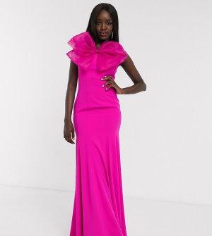 Эксклюзивное ярко-розовое платье-бандо макси с годе и большим бантом -Розовый Dolly & Delicious