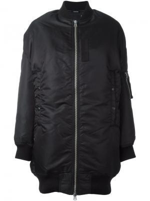 Удлиненная дутая куртка бомбер R13. Цвет: чёрный