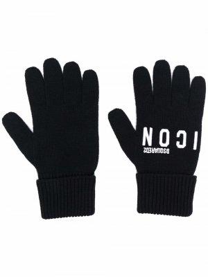 Трикотажные перчатки с вышитым логотипом Dsquared2. Цвет: черный