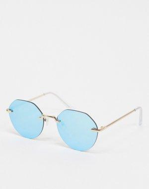 Бирюзовые круглые солнцезащитные очки без оправы -Синий New Look