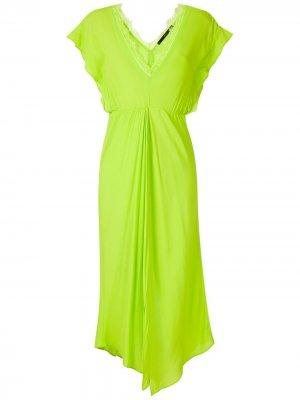 Платье миди с глубоким вырезом Eva. Цвет: зеленый