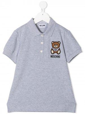 Embroidered teddy polo shirt Moschino Kids. Цвет: серый