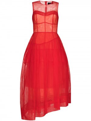 Вечернее платье асимметричного кроя из тюля Simone Rocha. Цвет: красный