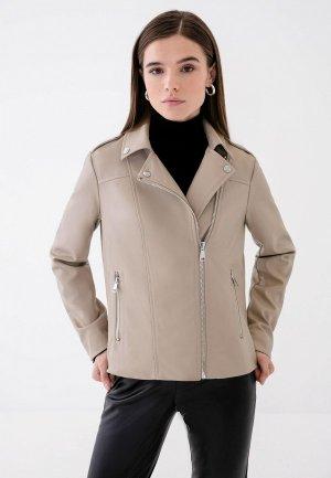 Куртка кожаная Zarina. Цвет: бежевый