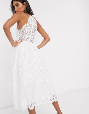 Кружевное свадебное платье миди с американской проймой Valerie-Белый ASOS EDITION