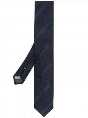 Жаккардовый галстук в полоску Canali. Цвет: синий