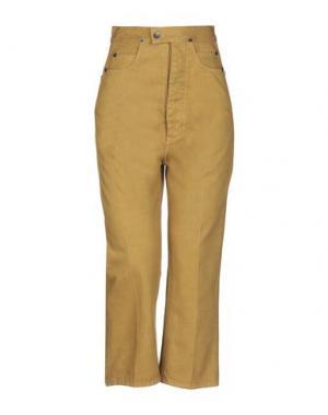 Джинсовые брюки-капри DRKSHDW by RICK OWENS. Цвет: охра
