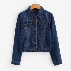 Модная джинсовая куртка с разрезами SHEIN. Цвет: тёмно-синие