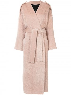 Пальто с поясом Petar Petrov. Цвет: розовый