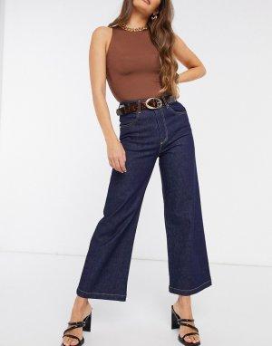 Синие широкие джинсы с завышенной талией -Синий Just Female