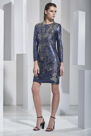 Коктейльное платье расшитое пайетками VASSA&Co. Цвет: синий