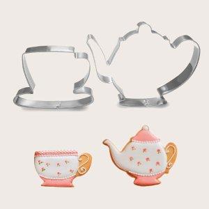 2шт Форма для печенья в форме чайника и чашки SHEIN. Цвет: серебряные