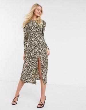 Коричневое платье миди с леопардовым принтом и длинными рукавами -Мульти River Island