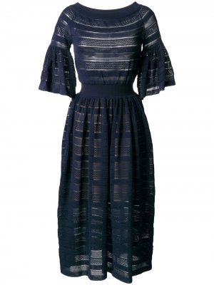 Расклешенное платье с перфорацией Antonino Valenti. Цвет: синий