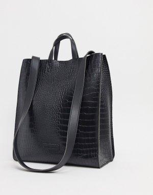 Большая черная сумка-тоут с эффектом крокодиловой кожи -Черный Claudia Canova