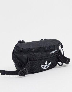 Черная сумка-кошелек на пояс с сетчатыми вставками -Черный adidas Originals
