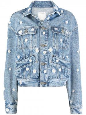 Джинсовая куртка с цветочной вышивкой Sandro Paris. Цвет: синий