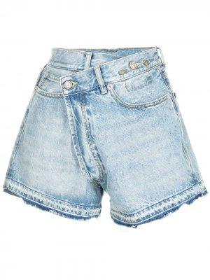 Джинсовые шорты с запахом R13. Цвет: синий