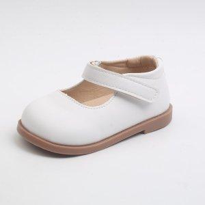 Для девочек Туфли мэри джейн минималистичный SHEIN. Цвет: белый