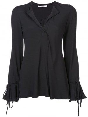 Блузка на пуговицах с длинным рукавом и объемными рукавами Derek Lam 10 Crosby. Цвет: черный