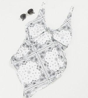Белый купальник с узлом спереди и принтом банданы ASOS DESIGN Maternity-Многоцветный Maternity