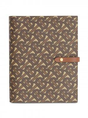 Обложка для блокнота с монограммой Burberry. Цвет: коричневый