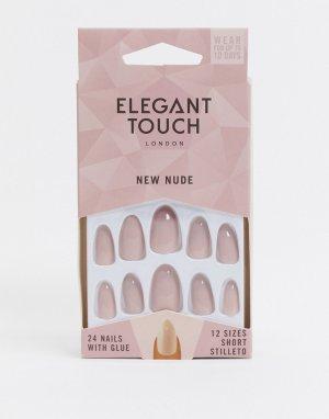 Накладные ногти в розоватых тонах -Светло-бежевый цвет Elegant Touch