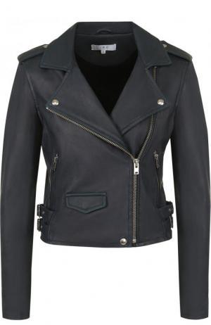 Укороченная кожаная куртка с косой молнией Iro. Цвет: синий