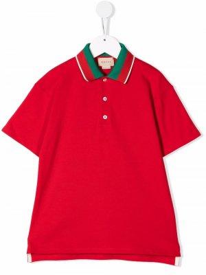 Рубашка поло с короткими рукавами Gucci Kids. Цвет: красный