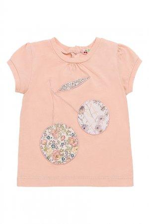 Розовая футболка с аппликацией Bonpoint. Цвет: розовый