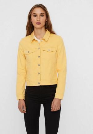 Куртка джинсовая Vero Moda. Цвет: желтый