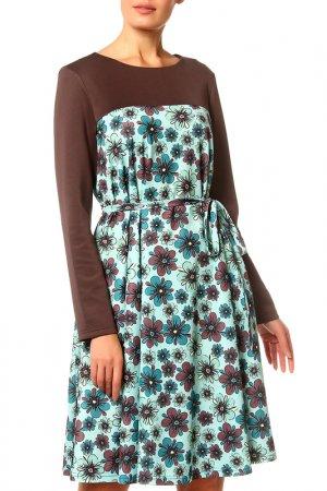 Платье Adzhedo. Цвет: коричневый, зеленый, цветы