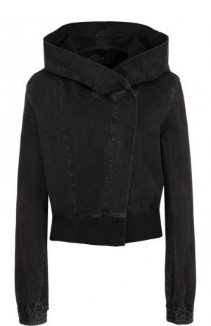 Укороченная хлопковая куртка с капюшоном Roque. Цвет: темно-серый