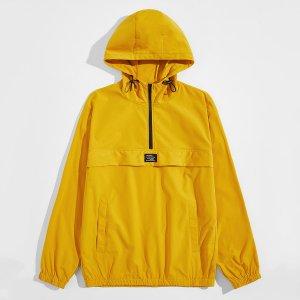 Мужская куртка-анорак с карманом SHEIN. Цвет: жёлтые