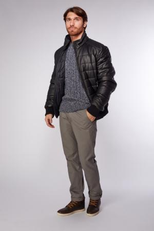 Мужская кожаная куртка черная на синтепоне AFG. Цвет: черный
