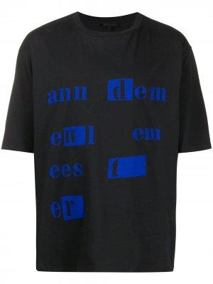 Футболка оверсайз с логотипом Ann Demeulemeester. Цвет: черный