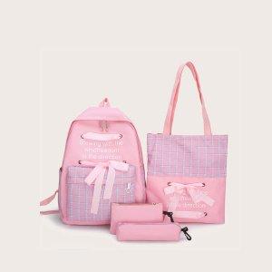 4шт рюкзак в клетку с бантом и пеналом для девочек SHEIN. Цвет: розовые