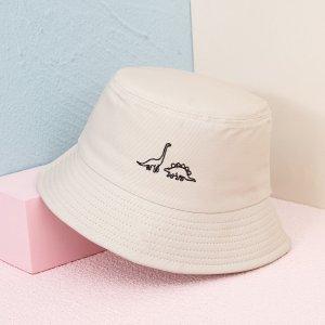 Мужская шляпа с мультипликационной вышивкой SHEIN. Цвет: бежевые