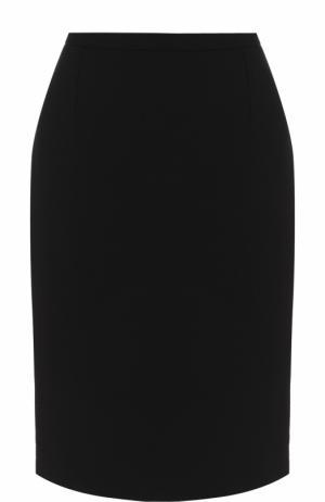 Однотонная шерстяная юбка-миди Oscar de la Renta. Цвет: черный