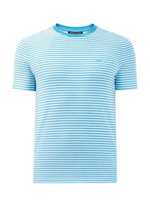 Хлопковая футболка с принтом в полоску MICHAEL KORS. Цвет: голубой