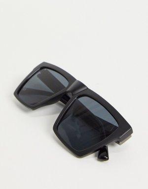 Матовые солнцезащитные очки с D-образной оправой черного цвета -Черный River Island