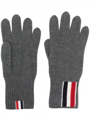 Перчатки с полосками Thom Browne. Цвет: серый