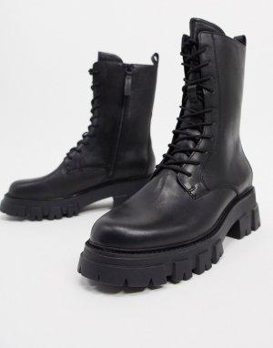 Черные ботинки на массивной подошве со шнуровкой -Черный Ash