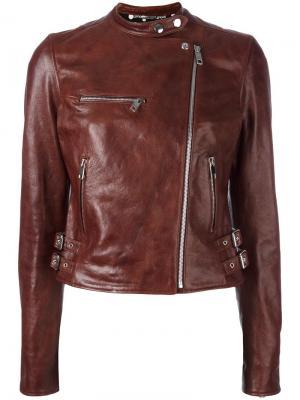 Кожаная куртка Dolce & Gabbana. Цвет: коричневый